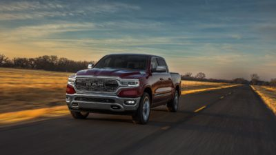 2019 black Dodge Ram 1500 Limited at sunset