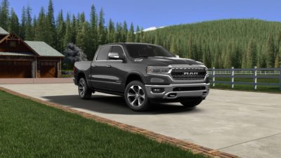 2019 black Dodge Ram 1500 Limited on a road