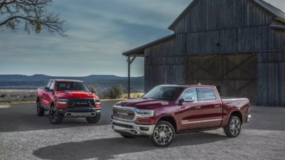 2019 black Dodge Ram 1500 and red Rebel