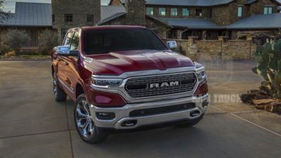 2019 red Dodge Ram 1500 Limited front bumper