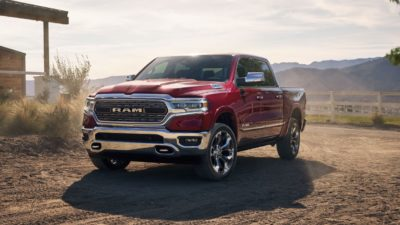 2019 red Dodge Ram 1500 Limited on offroad