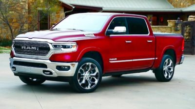 2019 red Dodge Ram 1500 Limited side view
