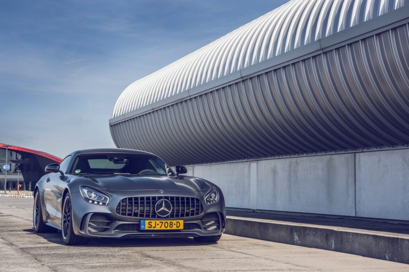 grey Mercedes-Benz AMG GT R front view