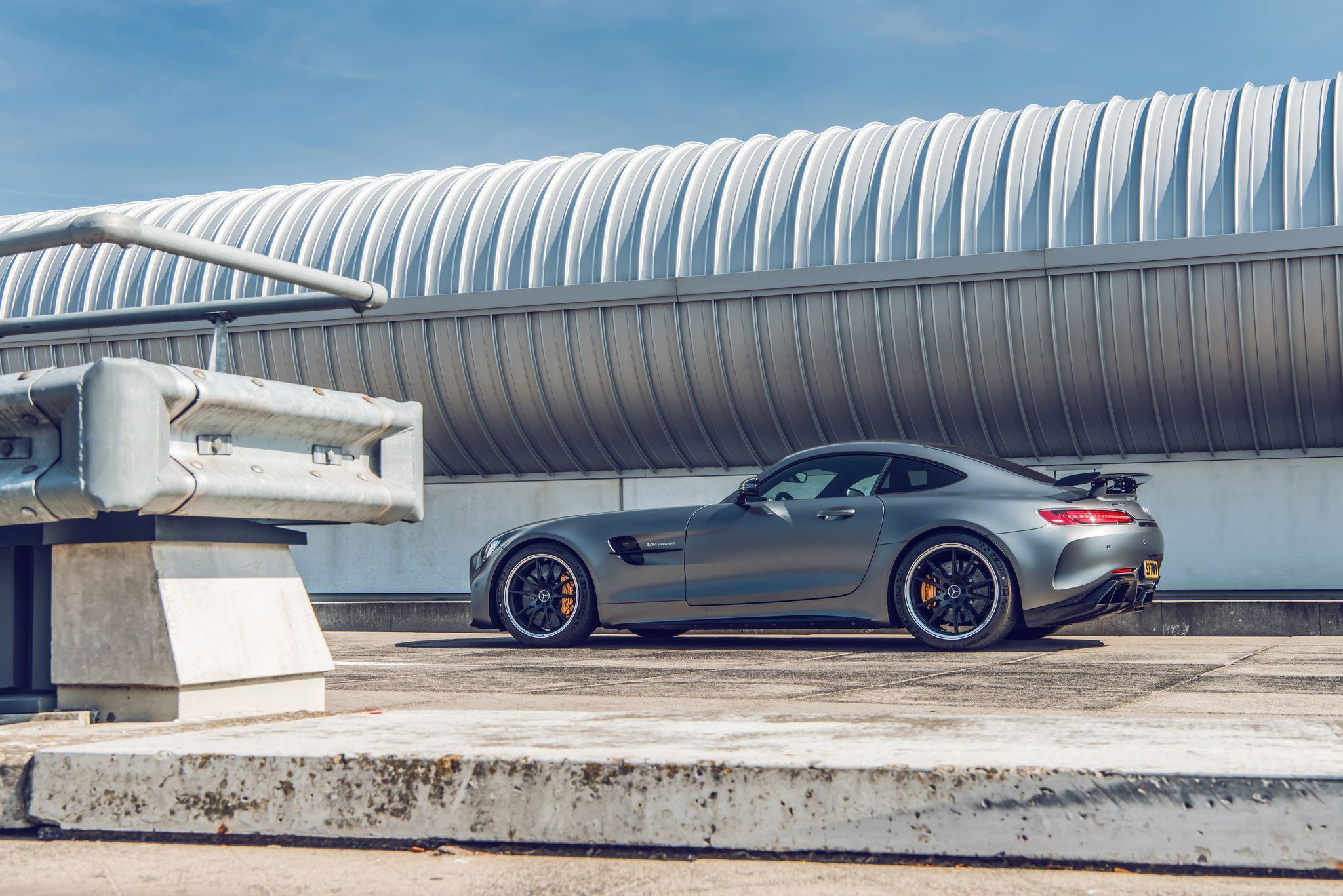 grey Mercedes-Benz AMG GT R side view