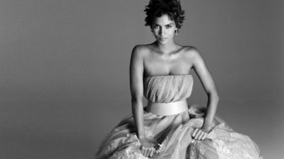 American actress Halle Berry in black white