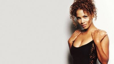 American actress Halle Berry with short curly hair