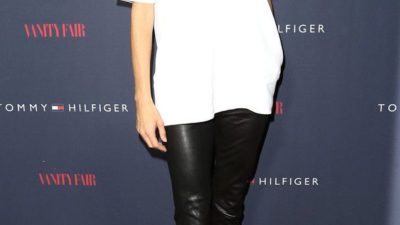 Angie Harmon in leather pants