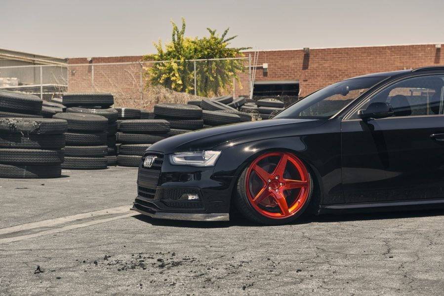 Black tuned Audi B8.5 Avant on Rotiform WGR wheels