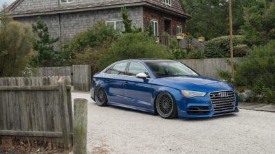 Blue Audi S3 sedan on Rotiform LHR wheels