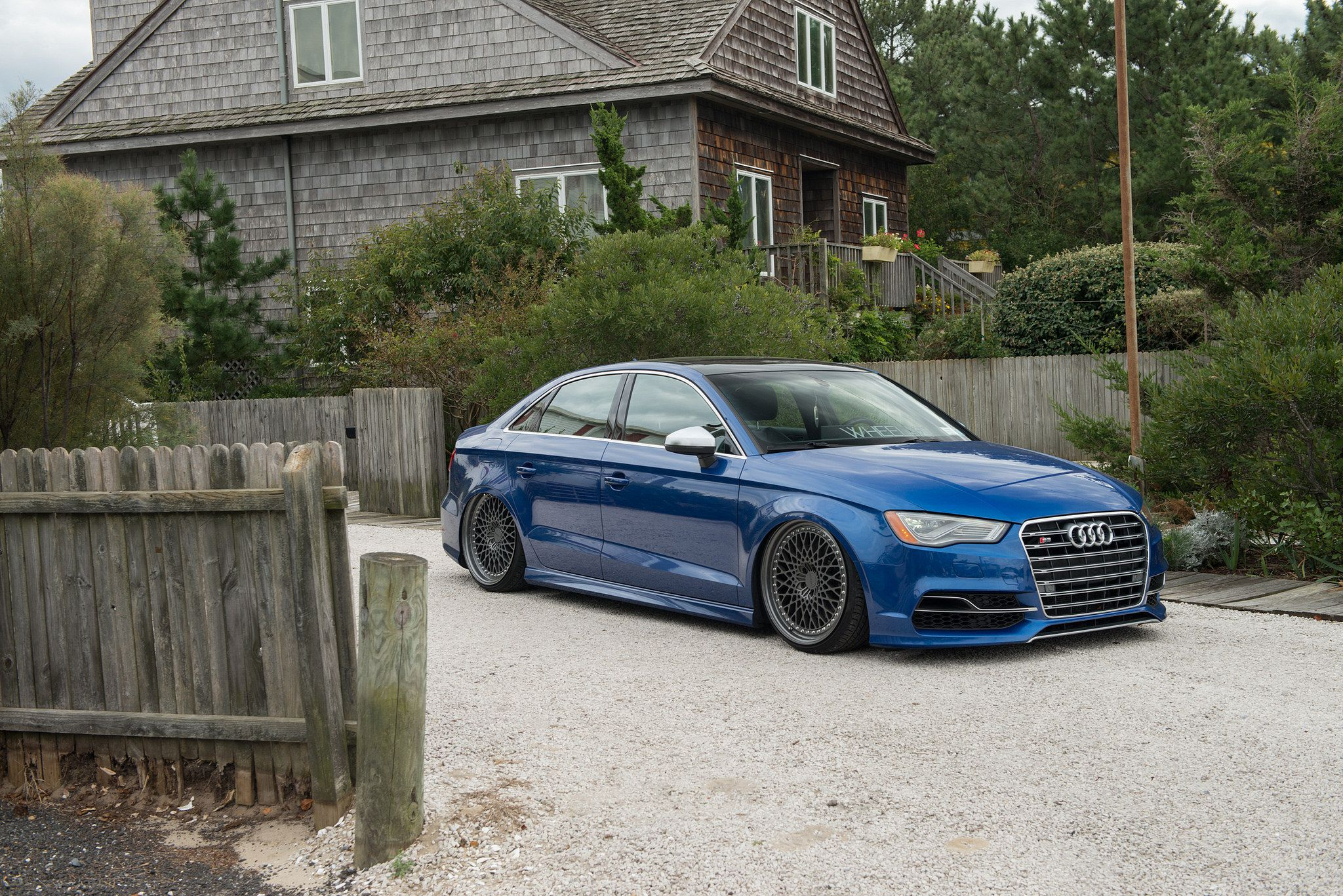 Rotiform LHR wheels - lowered & blue Audi S3 sedan in HD