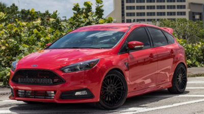 Red Ford Focus ST Tuned Hatchback by TSW Alloy Wheels