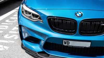 Headlights of 2018 blue BMW M2 LCI 2 series