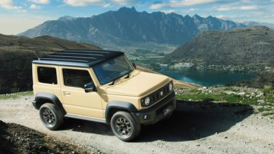 Yellow-green Jimny with black roof