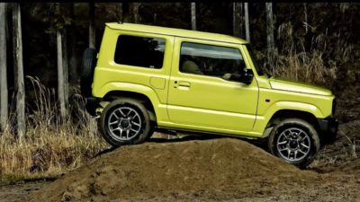Yellow-green Jimny side view