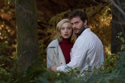 Sarah Gadon as Natalie Drax with Jamie Dornan as Dr. Allan Pascal
