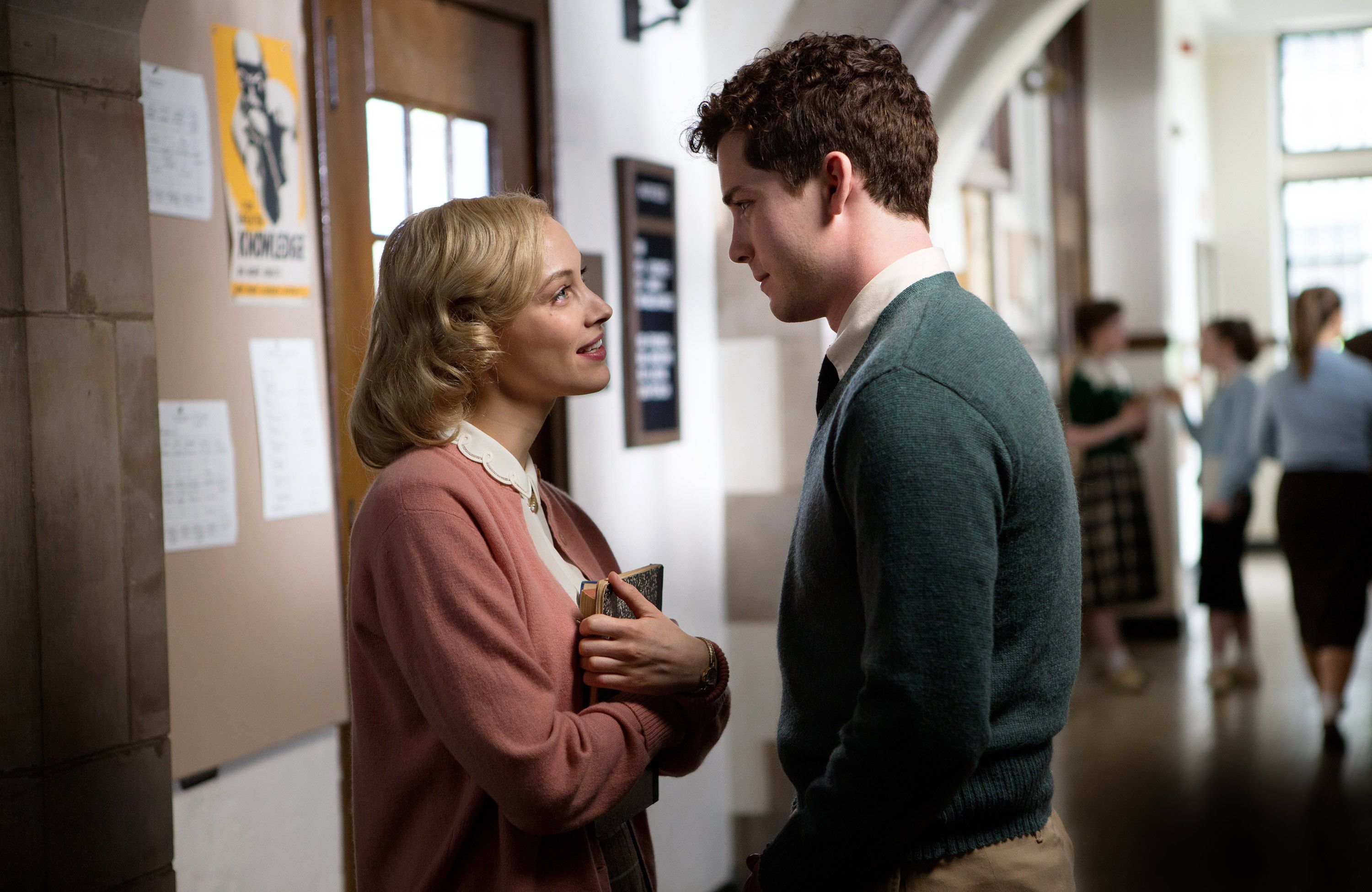 Sarah Gadon as Olivia Hutton with Logan Lerman as Marcus Messner in Indignation