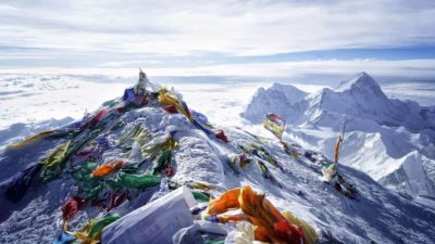 a camp on the peak of mount Everest