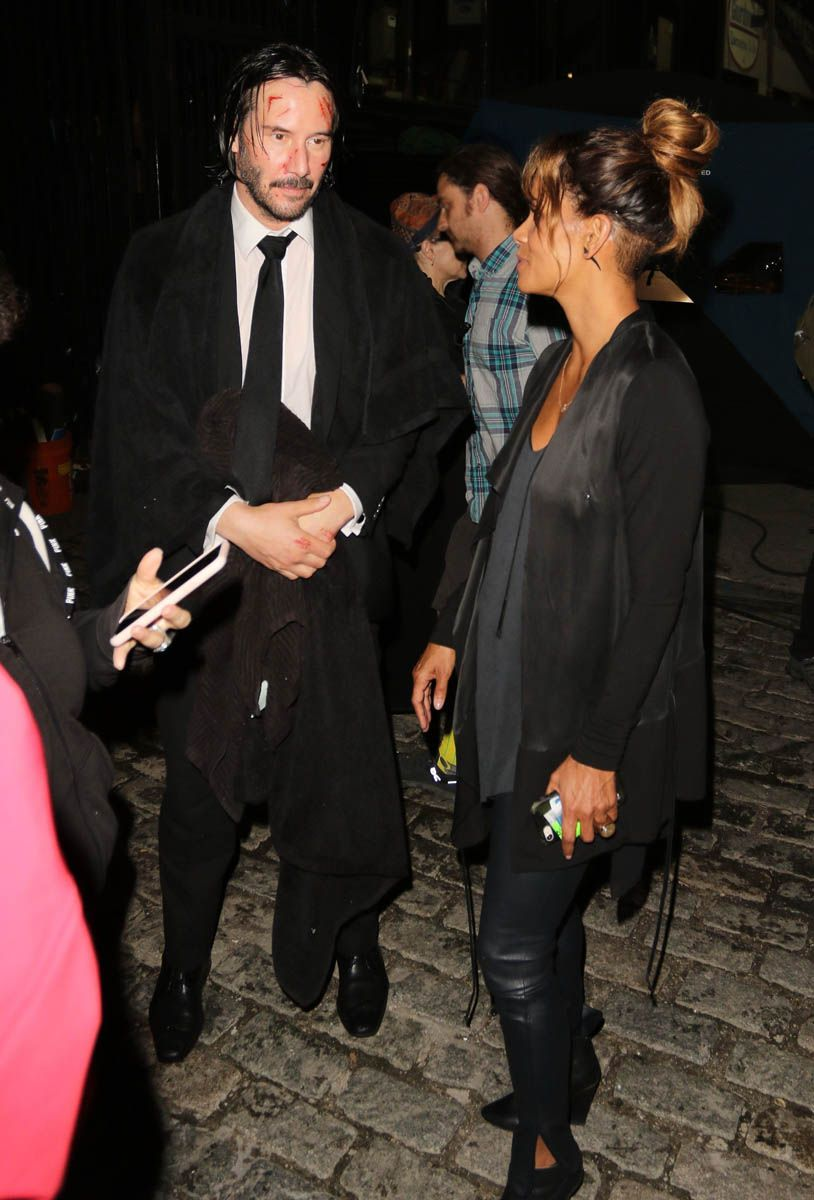 actress Halle Berry and Keanu Reeves on the set of John Wick 3