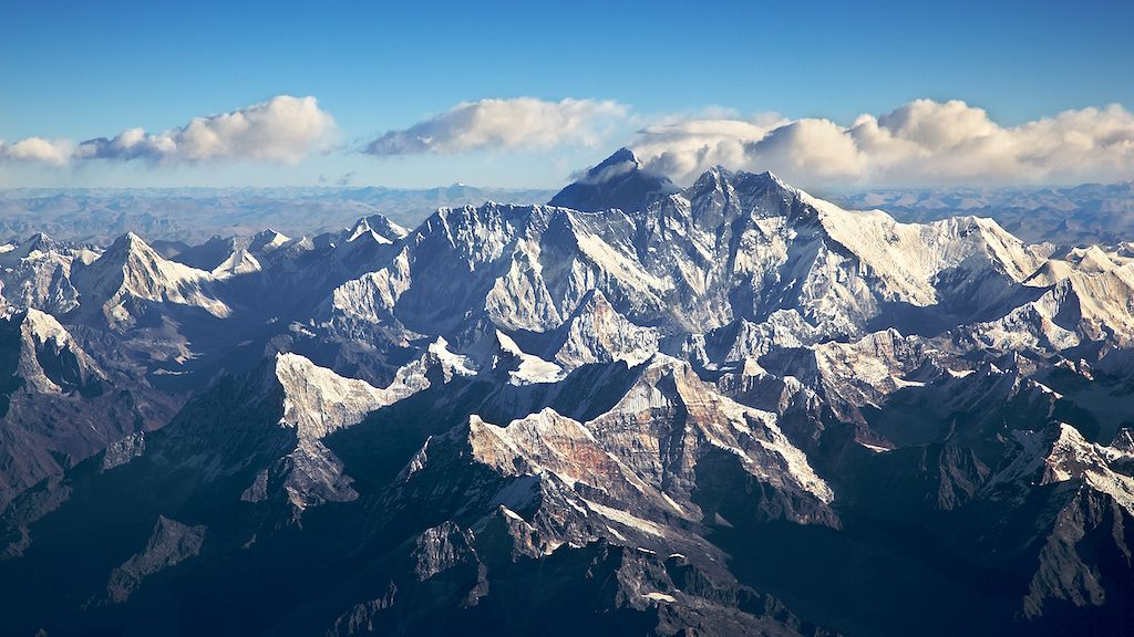 awesome aerial view on the mount Everest