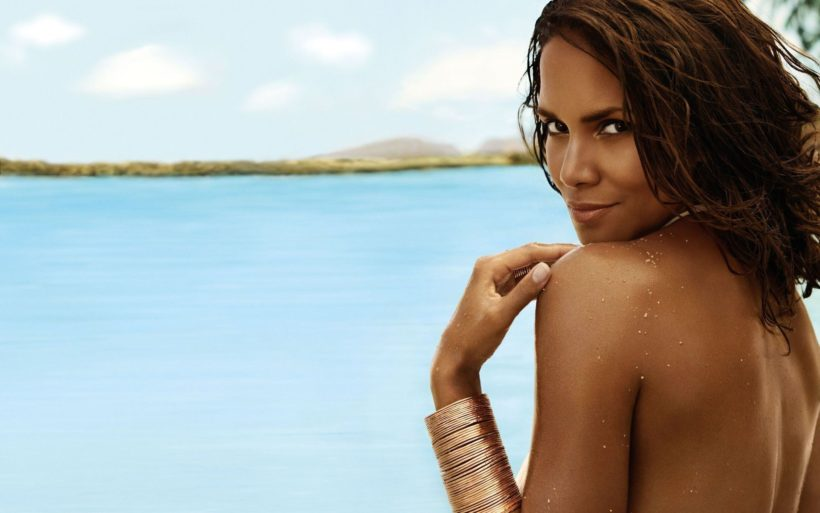 beautiful Halle Berry near a sea