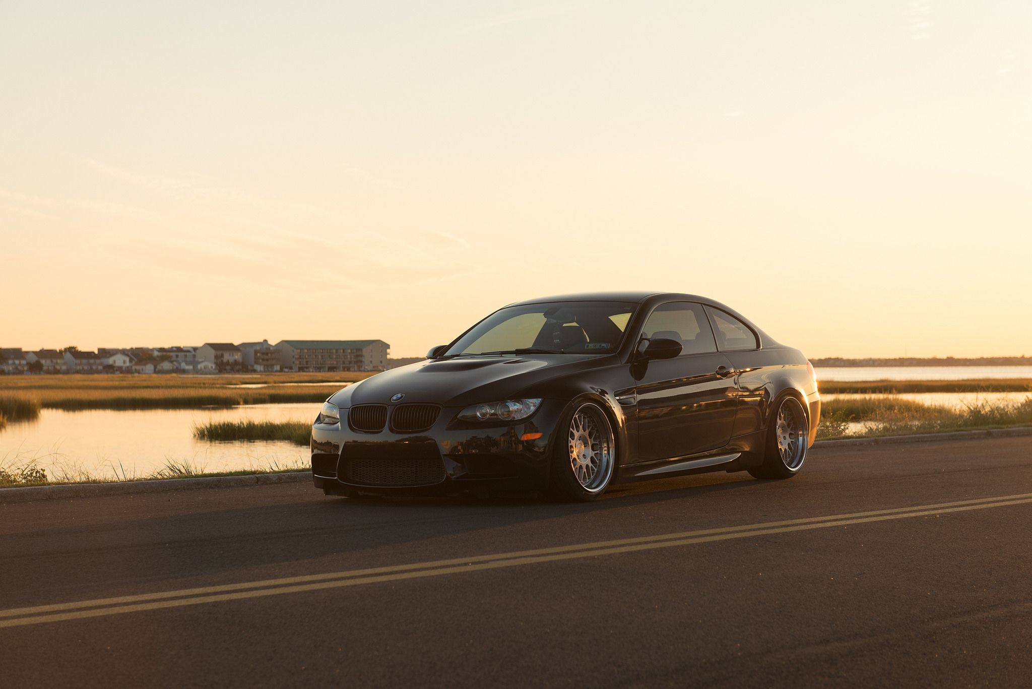 Rotiform LVS wheels - black BMW M3 coupe on a road