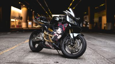 Honda CBR 600rr, Black, Sport Motorcycle with beautiful girl.