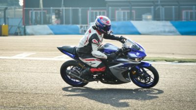 Sportbike - blue honda cbr600rr with rider