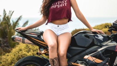 brunette girl on honda cbr600rr for iPhone