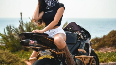 pretty awesome brunette girl on honda cbr600rr