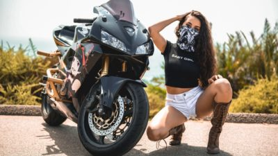 brunette girl on black honda cbr600rr widescreen