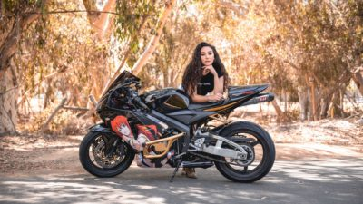 wallpaper of brunette girl on honda cbr600rr