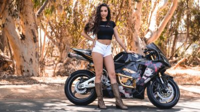brunette girl on honda cbr600rr in high resolution