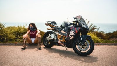 brunette girl on honda cbr600rr HD image