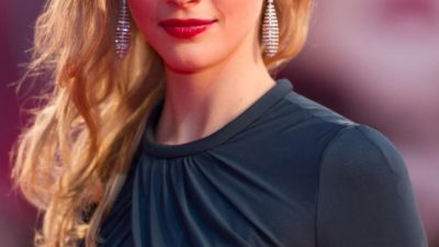 long earrings by Sarah Gadon