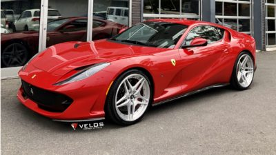 2018 Ferrari 812 Superfast, Red, Sport Car, on Velos VLS04 wheels