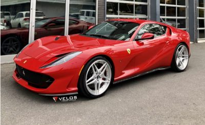 red sport car on VLS04 wheels - Ferrari 812 Superfast in high resolution