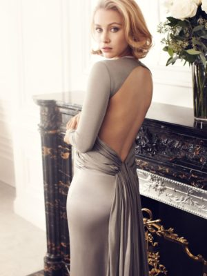 stylish Sarah Gadon in grey dress