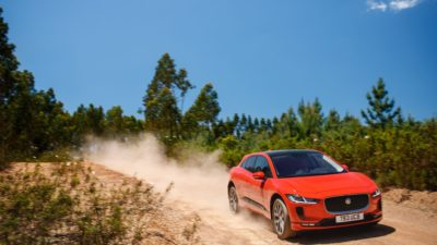 red Jaguar I-Pace in high quality