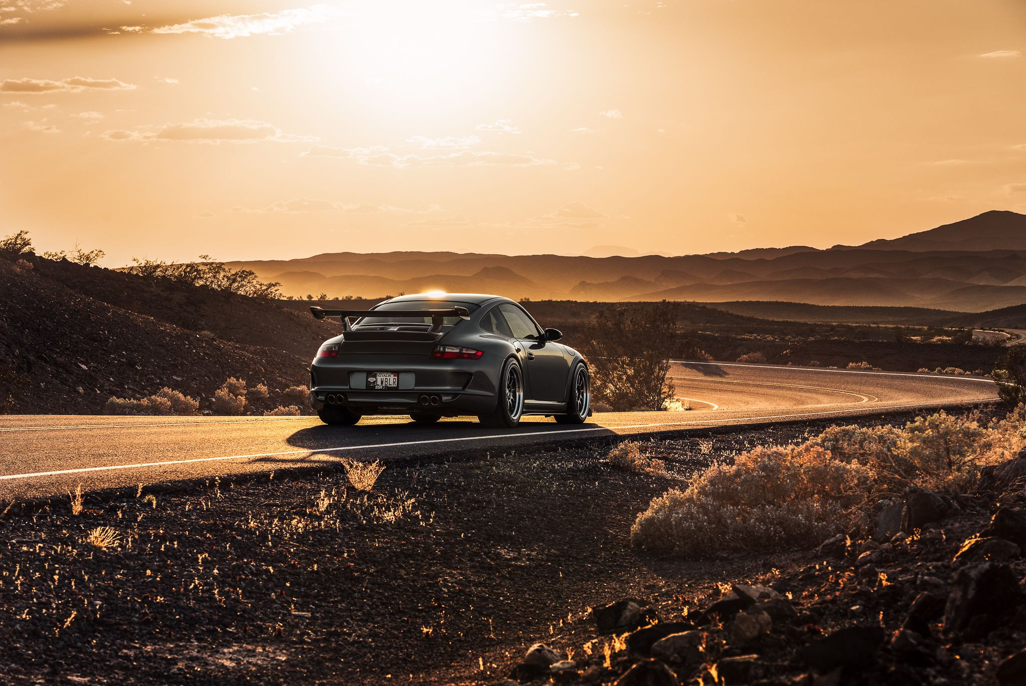 Porsche 997 at sunset