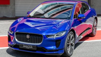 blue Jaguar I-Pace Electric Car