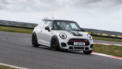 white 2018 MINI Cooper S JCW at race