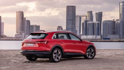2019 Audi e-tron, Red, Skyscrapers