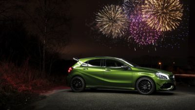 Mercedes-Benz AMG A45, Fireworks, Night