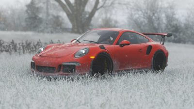Porsche GT3 RS, Red, Winter, Landscape