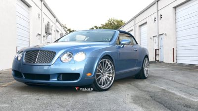 Bentley Convertible, Blue, Luxury car, Custom wheels