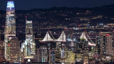 San Francisco by night (Salesforce Tower & Bay Bridge)