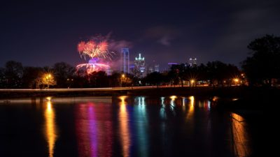2019 New Year in Dallas, Fireworks, At night