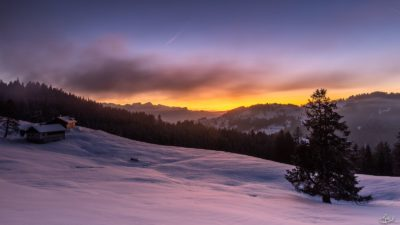 Winter sunset Canton of Vaud Switzerland