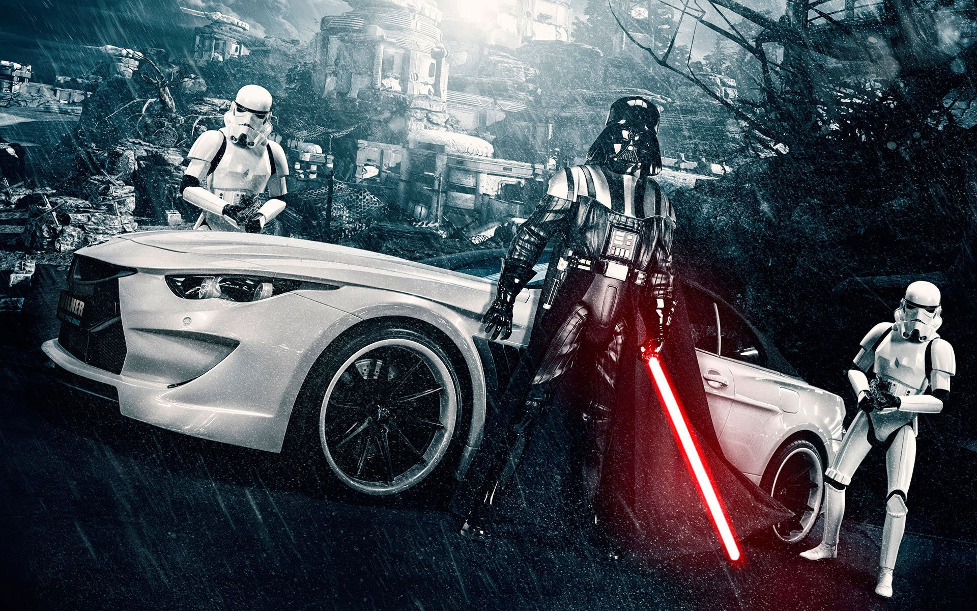 White car, Darth Wader and Stormtrooper