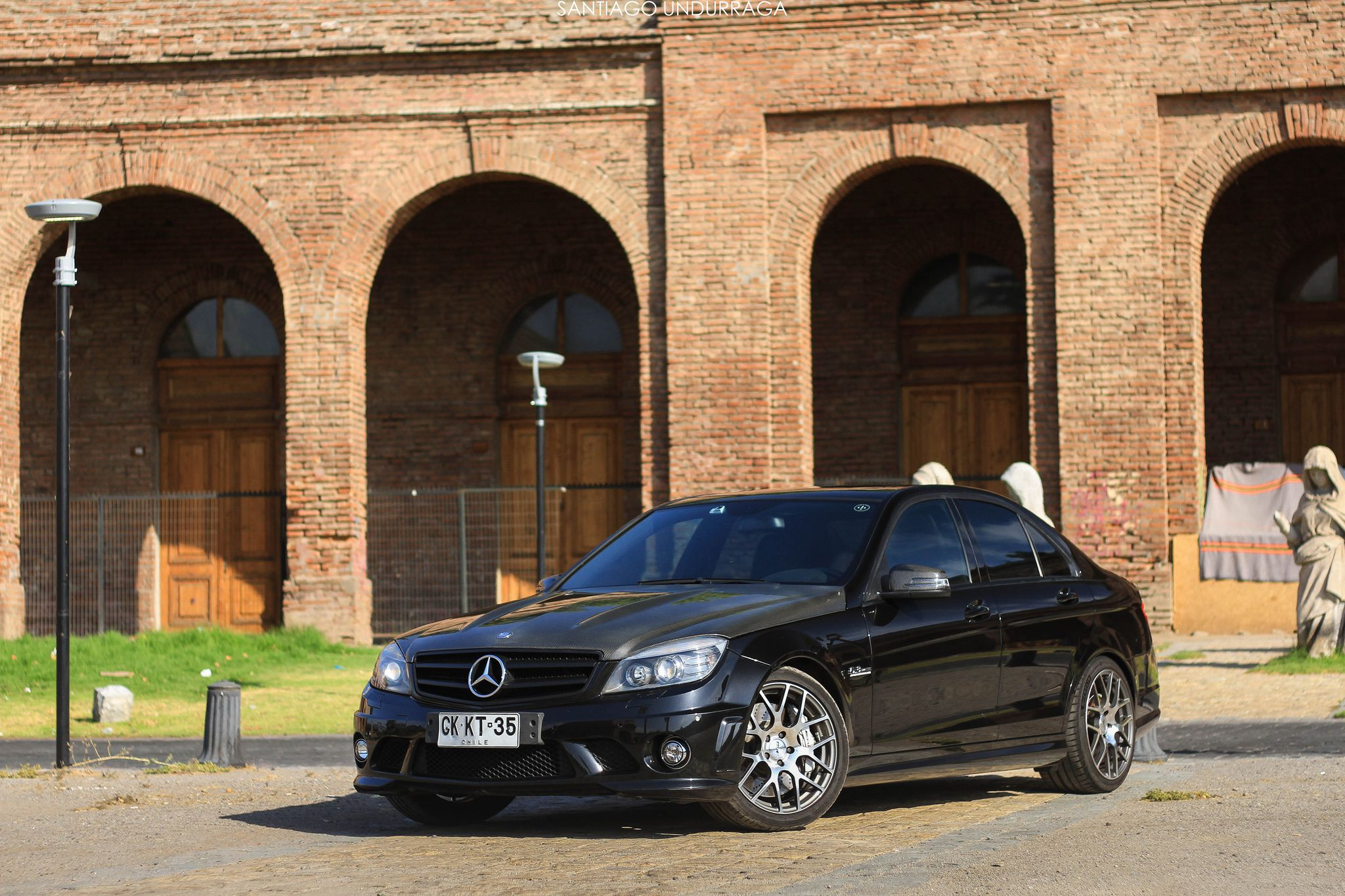 black Mercedes-Benz C63 AMG
